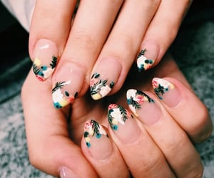 beauty, floral nails, and chic image