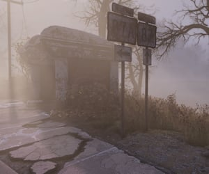 abandoned, bus stop, and fallout image