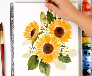 art, watercolours, and flowers image