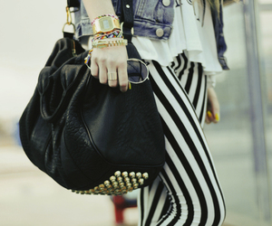 bag, black and white, and bracelet image