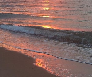 beach, aesthetic, and sunset image
