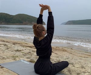 yoga, beach, and sport image