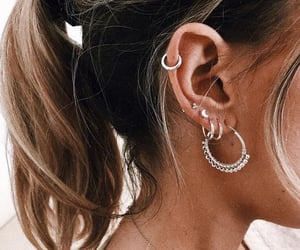 black, piercing, and silver image