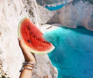 summer, watermelon, and sea image