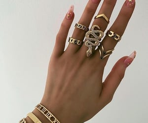 girl, nails, and gold image