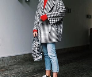 black and white, outfit, and coat image
