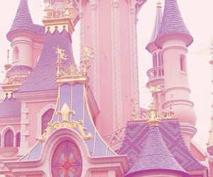 pink, castle, and pastel image
