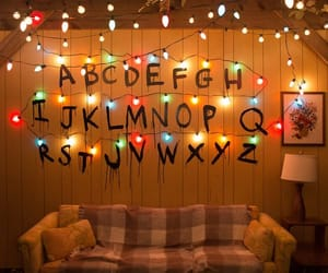 stranger things, netflix, and lights image