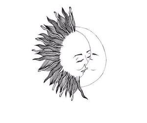 moon, sun, and kiss image