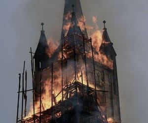 fire, church, and aesthetic image