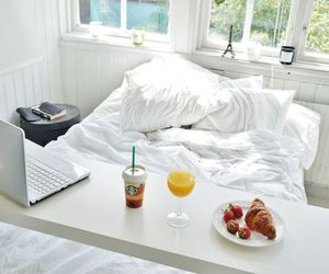 breakfast, bed, and starbucks image