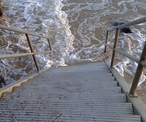 nature, sea, and stairs image
