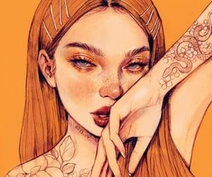 girl, orange, and painting image