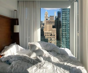 bed, buildings, and city image