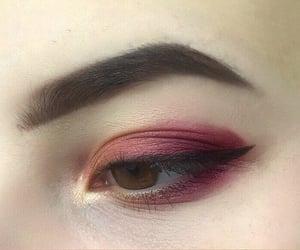 art, burgundy, and eye makeup image