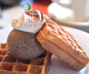 waffles, ice cream, and food image
