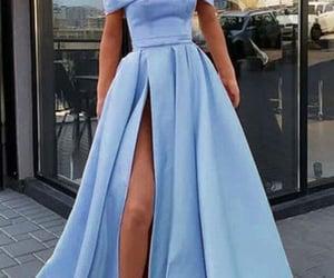 women, long prom dress, and satin dress image