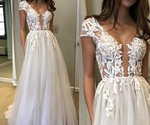 wedding gown, wedding gowns, and lace wedding dress image
