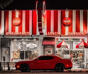 cafe, cars, and cocacola image
