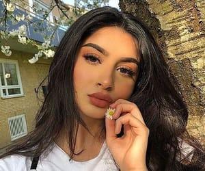 girl, makeup, and flowers image