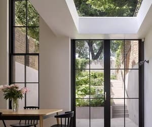 big window, interior design, and dining area image