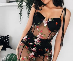 black, flowers, and lbd image