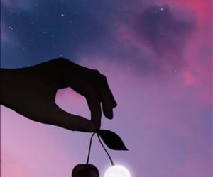 moon, cherry, and sky image