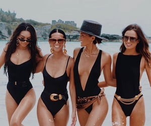 bathing suit, black, and gold accessories image