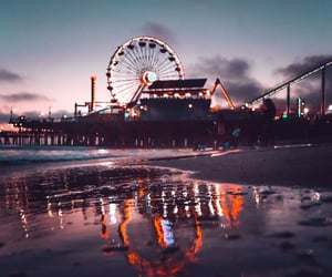 amusement park, beach, and night image