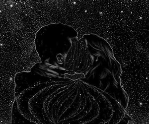 stars, love, and black image
