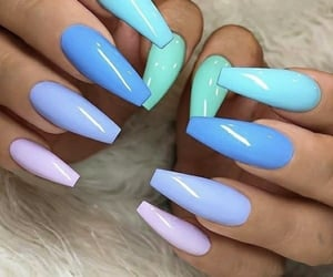 nails, blue, and blue nails image