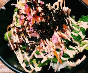 food, salad, and sushi image