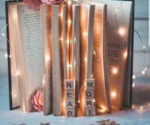 book, lights, and bookworm image