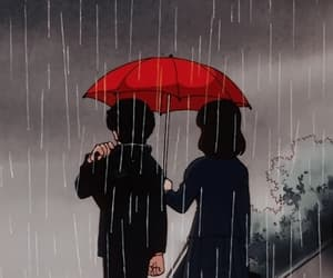 anime, rain, and 80s image