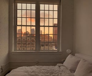 home, bedroom, and sunset image