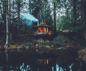 architecture, cabin, and nature image