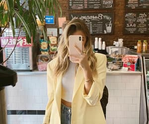 hair, yellow blazer, and instagram image