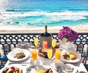 beach, food, and breakfast image