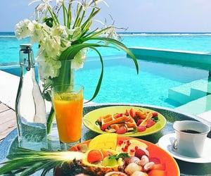 beach, breakfast, and flowers image