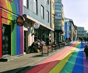 iceland, rainbow, and roads image