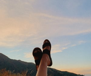 mountains, sunrise, and shoes image