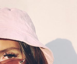 pink, sunglasses, and hat image