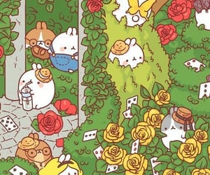 alice in wonderland, wallpaper, and molang image