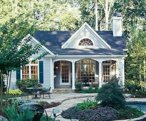 cottage, forest, and garden image
