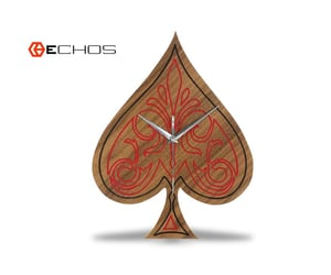 ace of spades, wooden clock, and deck of cards image