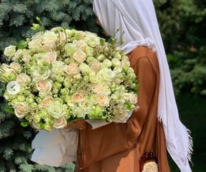 beauty, flowers, and hijab image