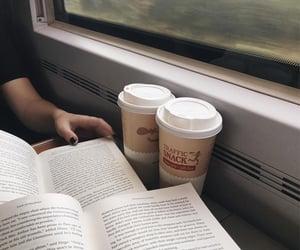 book, coffee, and train image