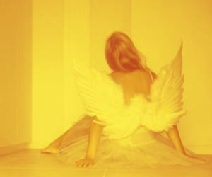 angel, yellow, and aesthetic image