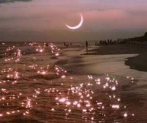 moon, beach, and sea image