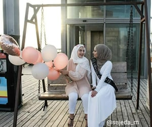 balloons, pink, and sisters image